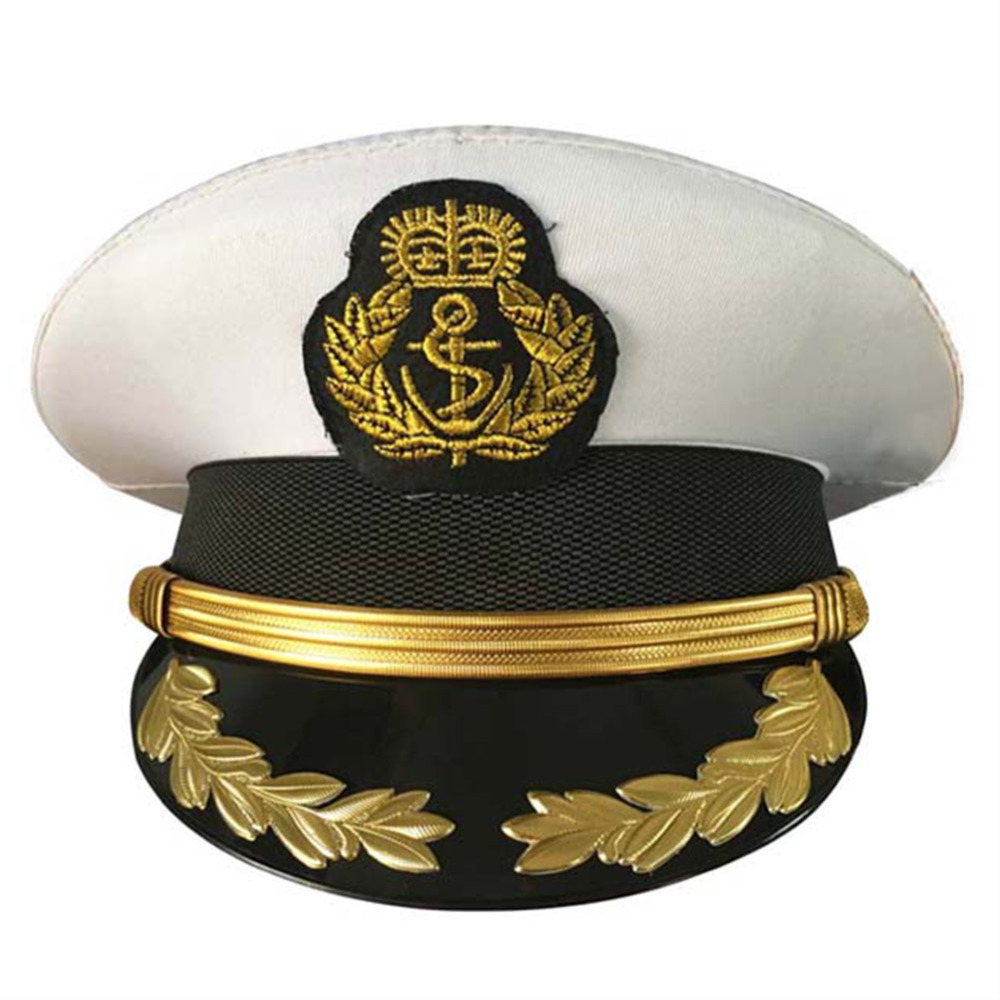 Military Hats Men Uniform Caps Navy Officer Caps Adult Boys White Military Sailor Wheat Hats Caps Ver. Two