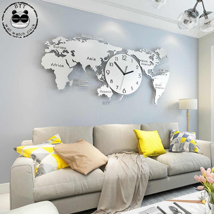 Современные дизайнерские часы для гостиной Большая карта мира настенные часы фон 3D акриловые наклейки настенные часы