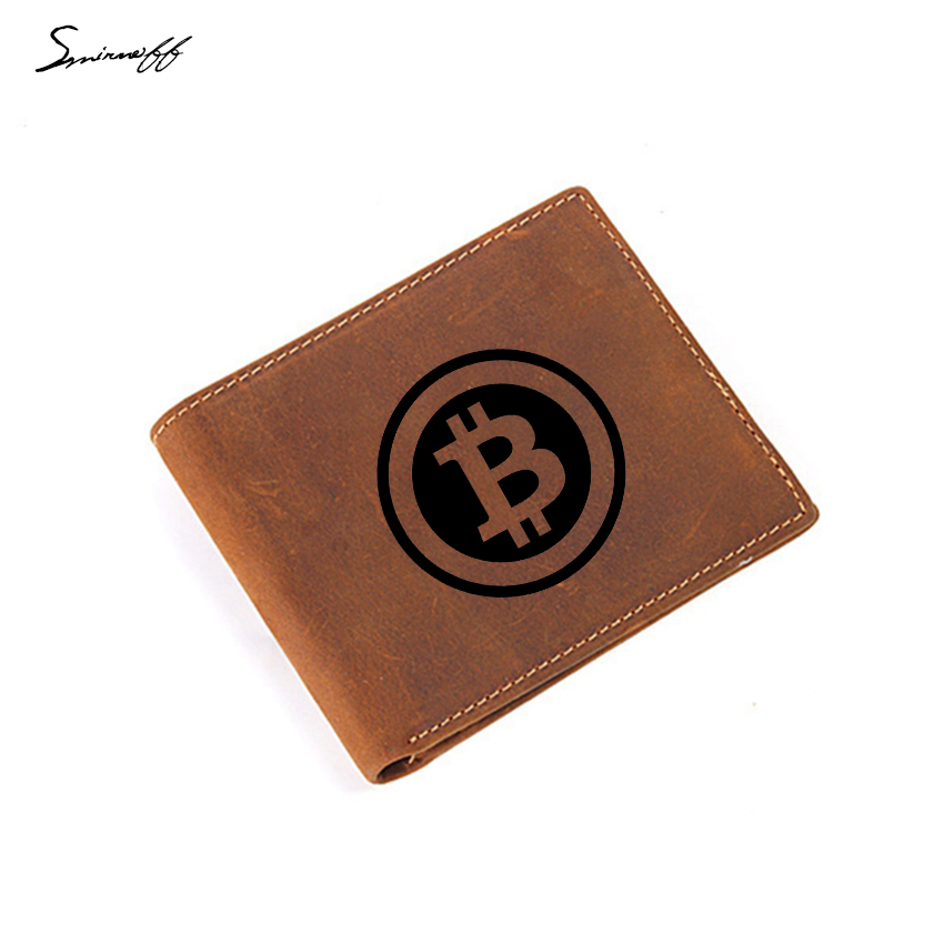 Custom Name Purse Engraved Logo Bitcoin Cow Leather Wallet Men Short Purse Credit Card Holder Small Coin Pocket Men Wallet