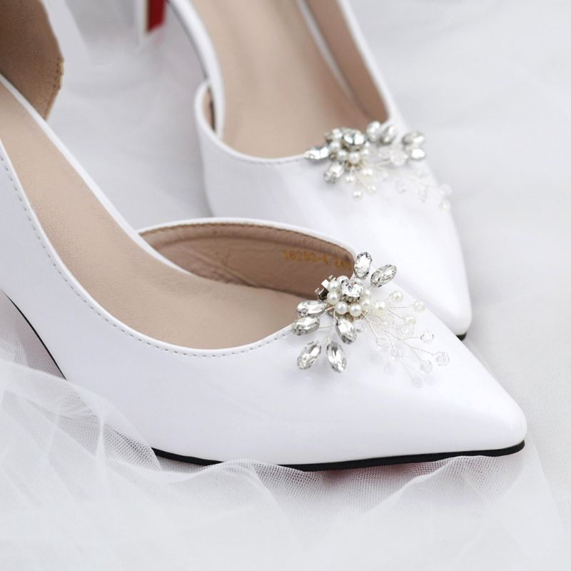 3668b6877 Shoe Clip Rhinestone Pearl DIY Shoes Women Elegant High Heel Sandal Decoration  Ornaments Charms Floral Fashion