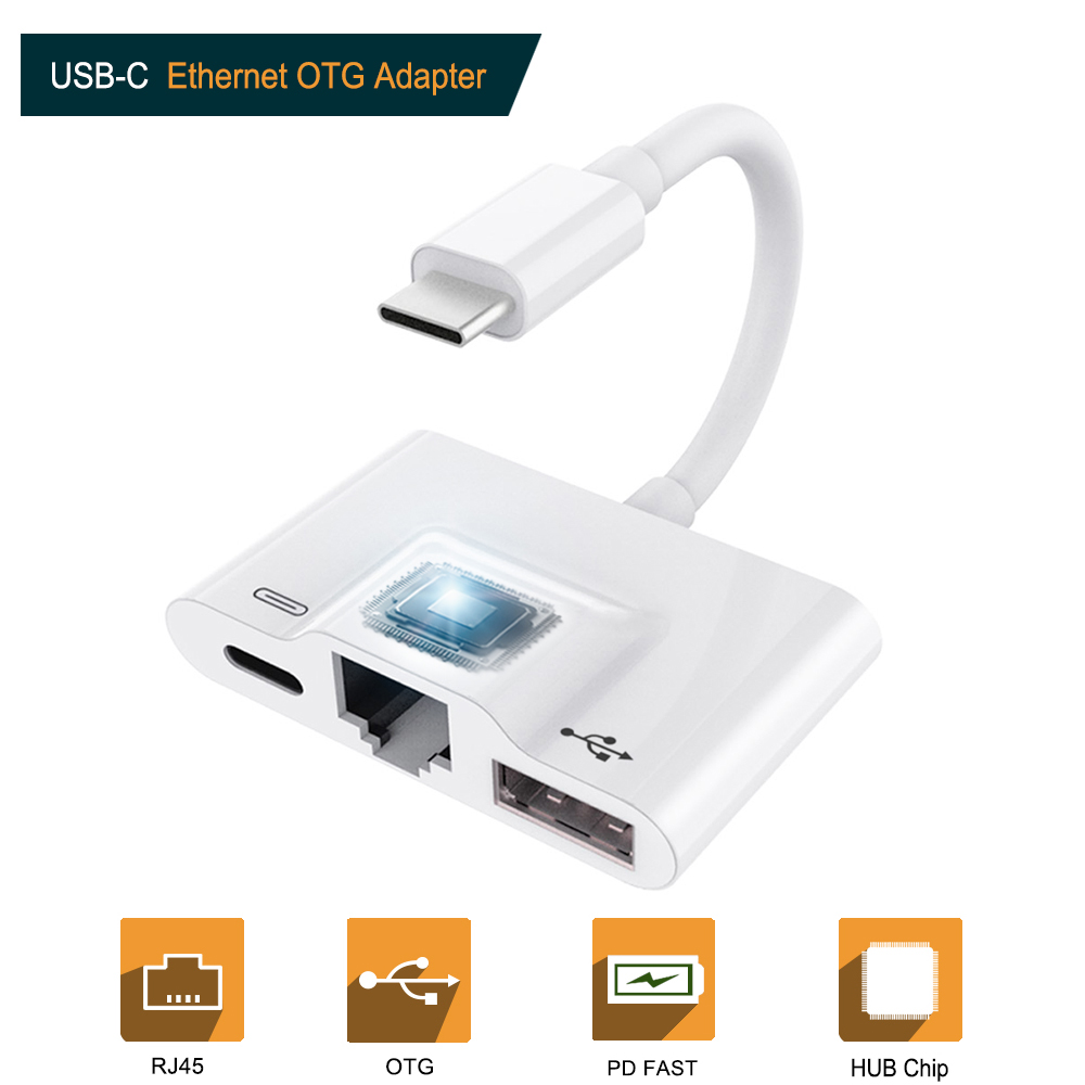 Newest OTG Adapter For USB C To RJ45 Ethernet LAN Wired Network With Charging Port&USB Camera Reader For Huawei P20 Mobile Phone