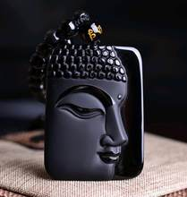 Free shipping Natural Obsidian Stone top fashion crystal pendant Buddha Buddha Head necklace Pendant gift for men and women(China)