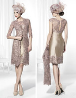NEW Mother Of The Bride Dresses Sheath High Collar Champagne Lace Short Brides Mother Dresses For Weddings With Jacket