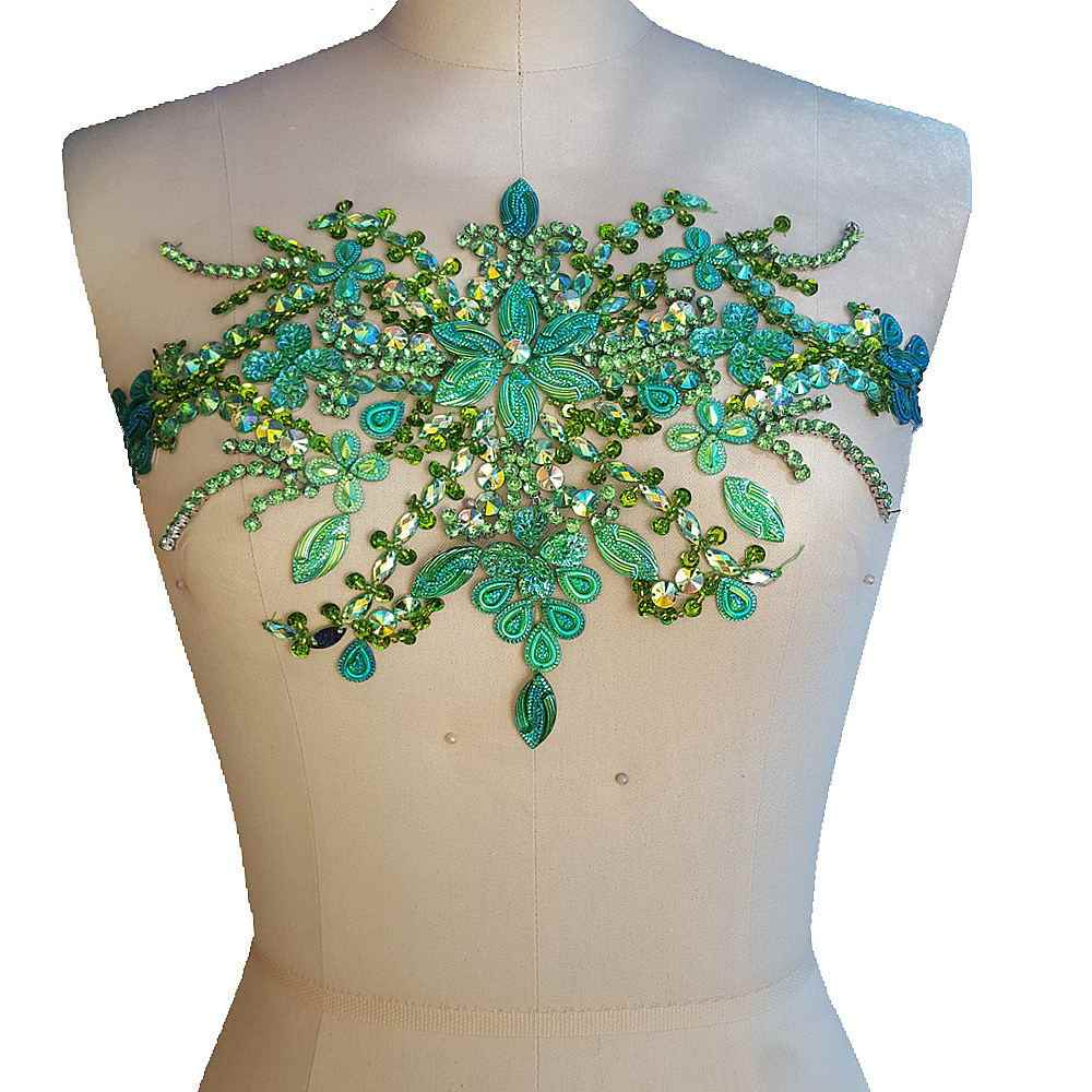 8f8e8eef1a bi.Dw.M Green Embroidery Beaded Crystal Rhinestone Applique Patch 22x35cm  Sewing For Wedding Dress Trims Waist Belly Decoration