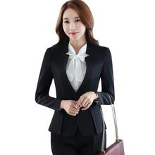 Autumn winter formal women pants suit set career slim long s