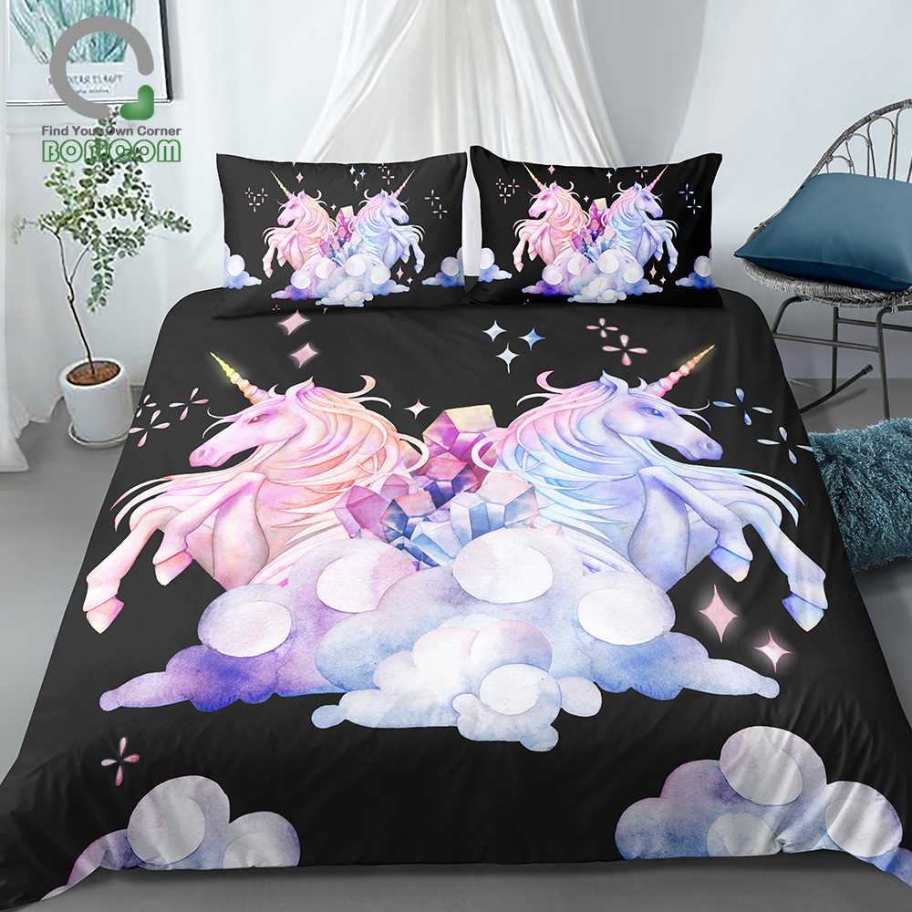 BOMCOM 3D Digital Printing Watercolor Hand Drawn Unicorn Couple In Pastel Colors Fantasy Clouds Crystals 100