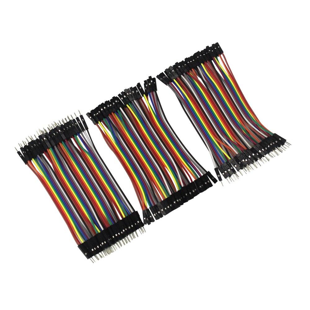 Dupont линии 120 шт. 10 см мужчинами + Женский Мужской и Женский перемычку Dupont кабель для arduino DIY KIT ...