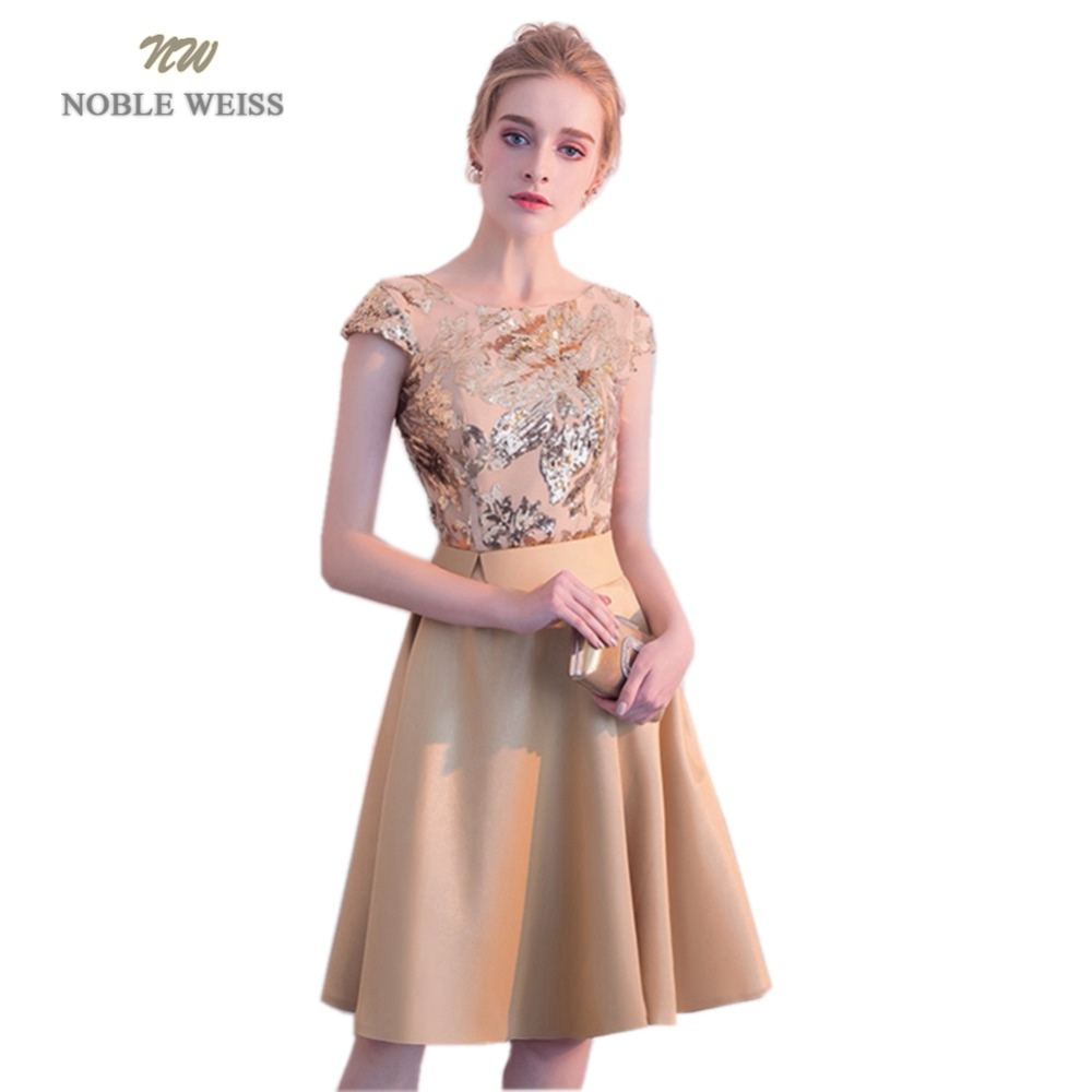 NOBLE WEISS Hot Sale Champagne Satin Short Prom Dresses Sequined Robe De Soiree A-Line In Stock Prom Dress With Cap Sleeves