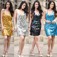Sexy Women Sequins Party Mini Dress Halter Deep V Neck Beading Sundress Backless Night Club Stage Show Performance Clothing