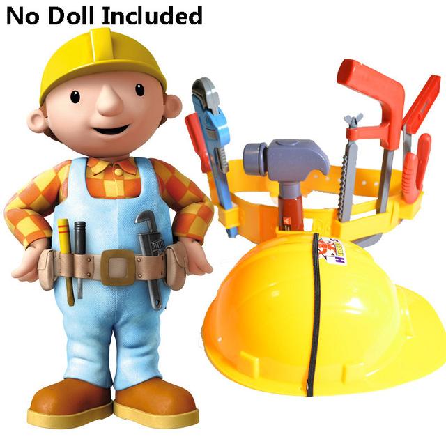 Artificial de plástico bob niños ingeniero herramientas cinturón tapa el constructor el sombrero de vestir pretend play, construcción toys para niños niños