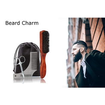 Beard Massage Grooming Set with Bag-Metal Modeling Comb Wild Boar Bristle Brush Stainless Steel Scissor Beard Timming Kit 2