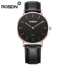 2018 New Couple Watch ROSDN Brand Slim Style Women Fashion Quatrz Watch Men Business Wristwatch Leather Strap wrist watch