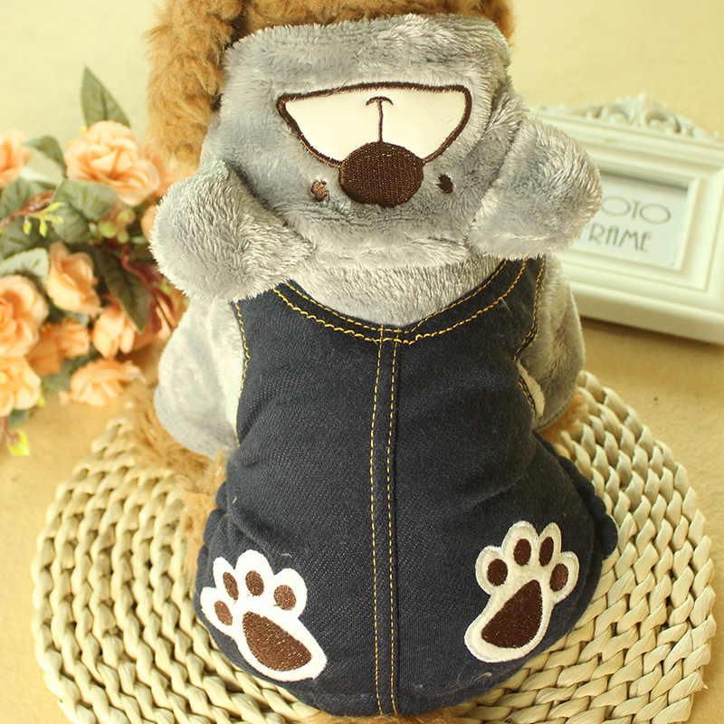 Флисовый зимний комбинезон для собаки для маленьких собак джинсовая одежда для собак комбинезон для щенка Померанский комбинезон для кошек RQ008