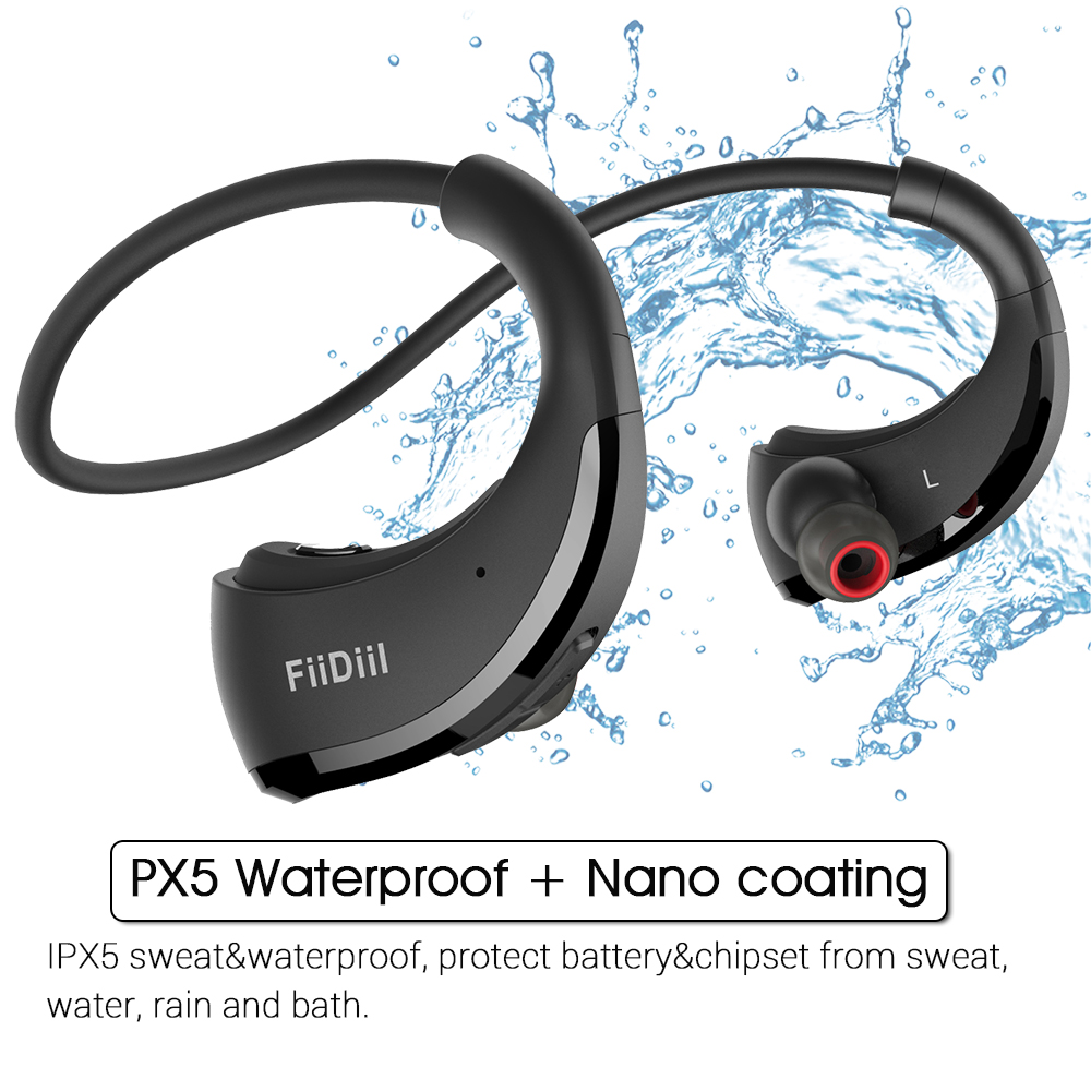 FiiDiil Headband Bluetooth Earphone IPX5 Waterproof Wireless Headphone Stereo Headset Audio Handfree for Gym with Microphone image