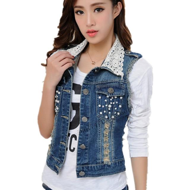 529ac86dc59d Belle Patchwork Col En Dentelle Denim de Femmes Gilet Sans Manches Perles  Jeans Veste Courte Mince