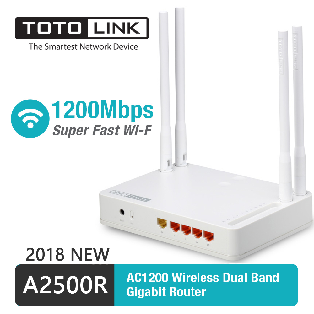 TOTOLINK A2500R 2.4G&5G 11AC 1200Mbps Gigabit WiFi Router With Wireless Repeater, AP In One, And Four Pcs Of 5dBi Antennas