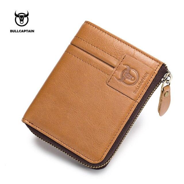 BULLCAPTAIN 2018 Новое поступление из натуральной кожи Для мужчин бумажник молния мужской короткие портмоне бренд высокое качество кошелек Винтаж кошелек