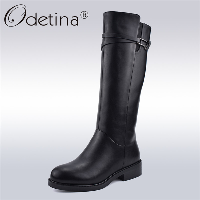 Odetina New Fashion Winter Black Womens Riding Boots Side Zipper Chunky Heel Knee High Boots Thick Plush Warm Shoes Big Size 41 womens high boots vogue side zipper botas invierno mujer fashion buckle block chunky heel sapatos mulher suede size us 4 10 5