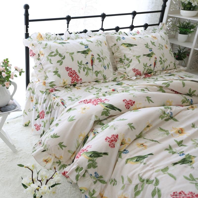 Pastoral Flower Bird Print Bedding Set Garden Ruffle Duvet Cover
