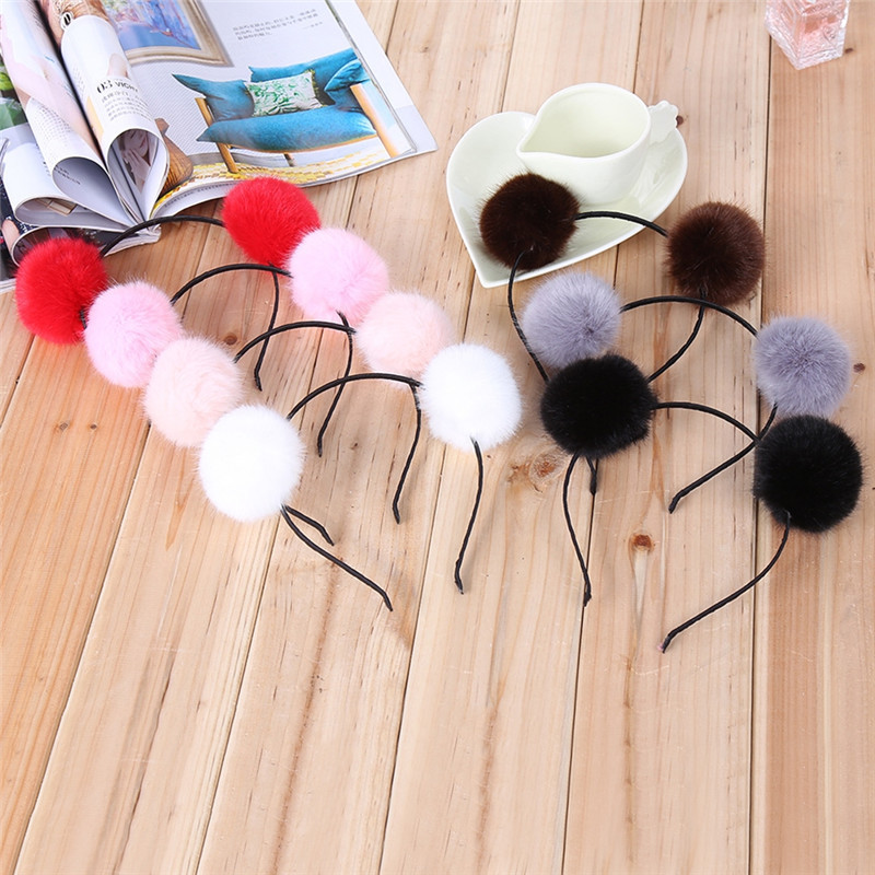 Sweet Faux Fur Ball Furry Ears Lovely Girls Headbands Hair Clip Female Fashion Party Popular Jewelry Accessories
