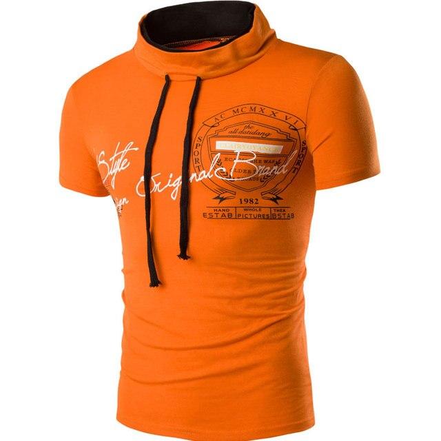 Letters Print Men T Shirt Cotton T-shirt 5 Color Mandarin Collar Tshirt Homme Short Sleeve Slim Fit T Shirt men Camisetas Hombre