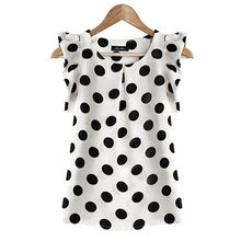 Fashion Girl Women Casual Chiffon Shirt Short Sleeve Shirt Summer Tops Black White(China)