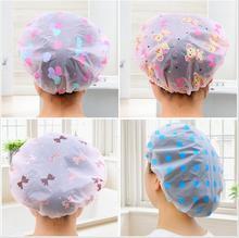 1PC Bathroom Accessories Waterproof Shower Cap Elastic Band Hat Bath Cap Cute Cartoon Shower Hats
