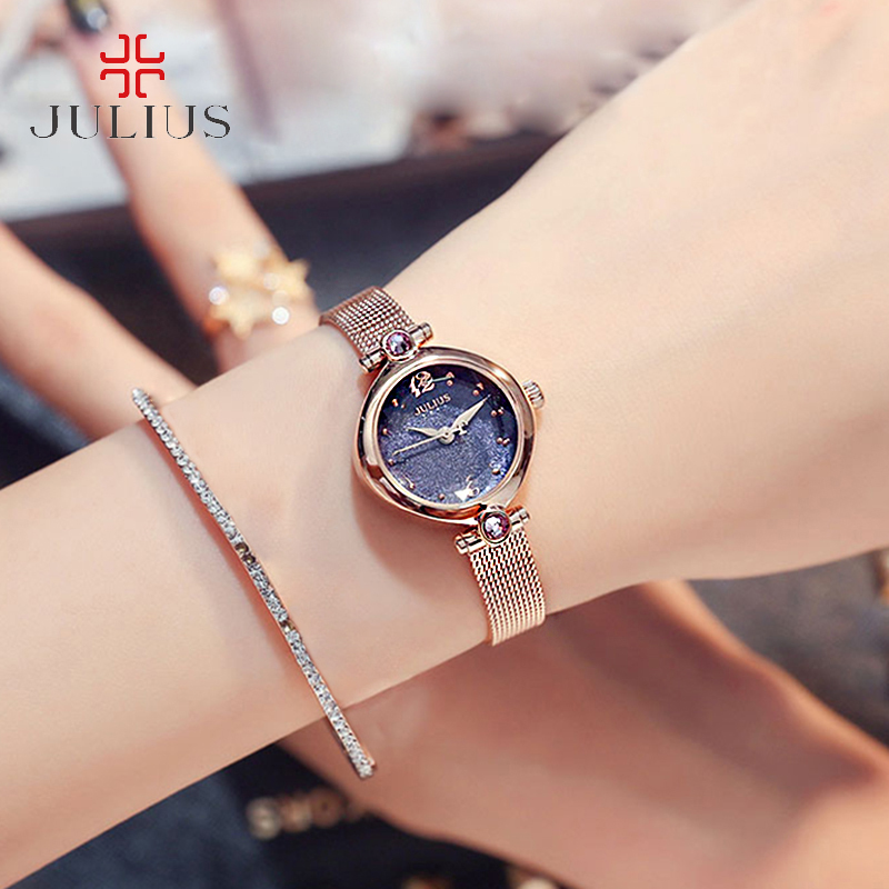 Julius Woman Luxury Zircon Oval Waterproof Quartz Watches Stainless Steel Mesh Belt Dress Watch Fashion Bracelet Wristwatches