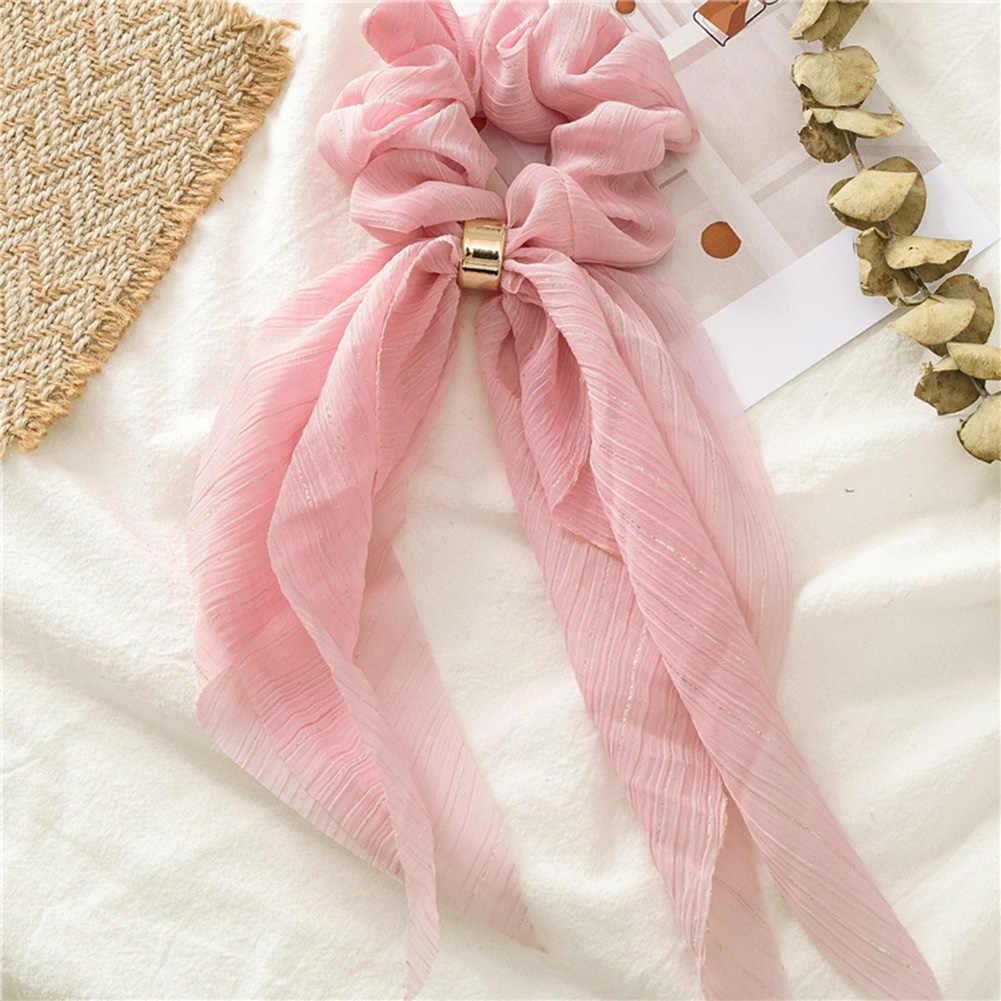 Dupla camada chiffon arco longo fita scrunchie laços de cabelo feminino menina lenço de cabelo fivela de ouro elástico bandas de borracha acessórios de cabelo