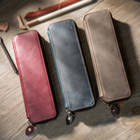 First Layer Cowhide Genuine Leather Zipper Type Simple Style Pen Bag Retro Pencil Case Stationery Bag For Fountain Pen