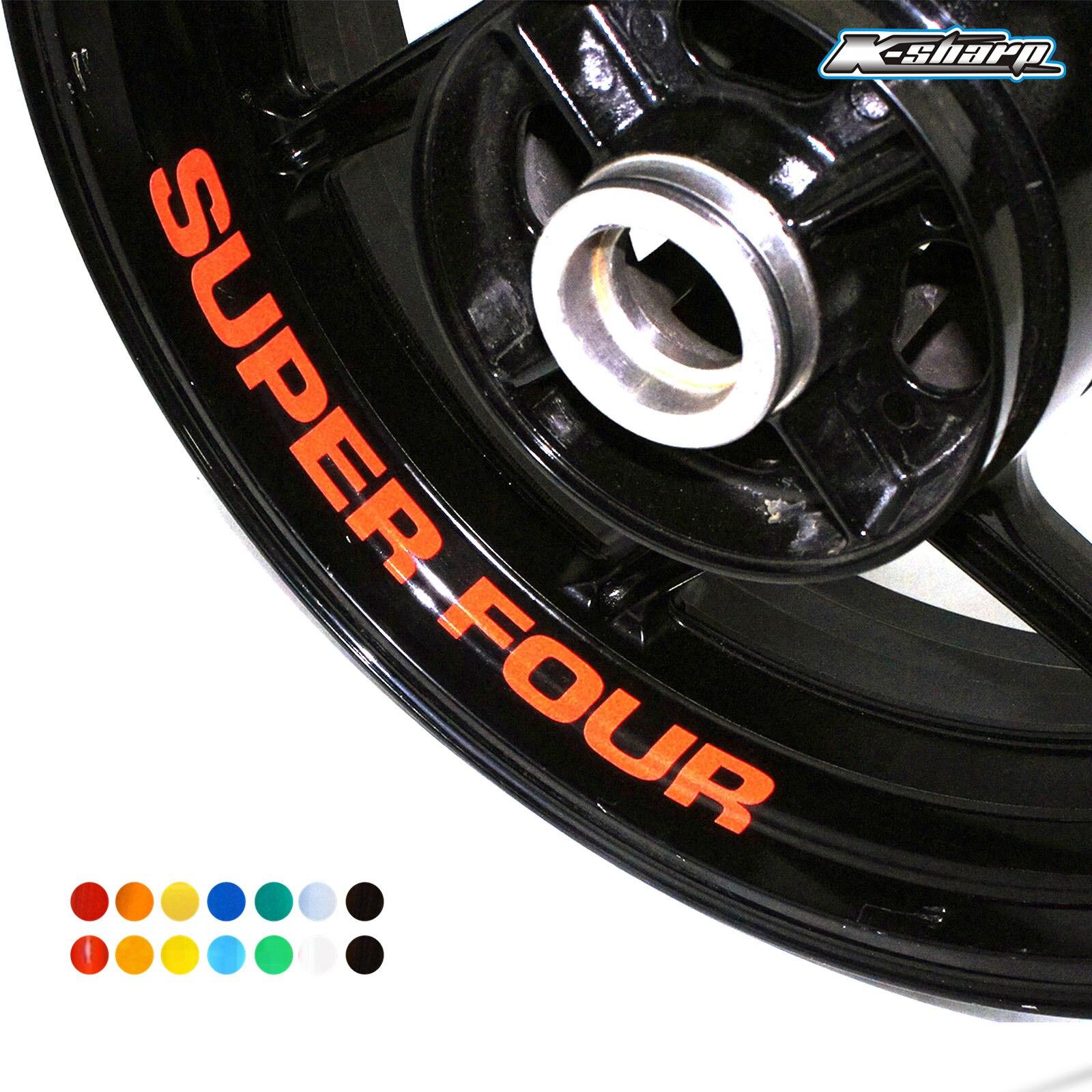 8 X Custon Inner Rim Decals Wheel Reflective Stickers Stripes FIT HONDA SUPER FOUR