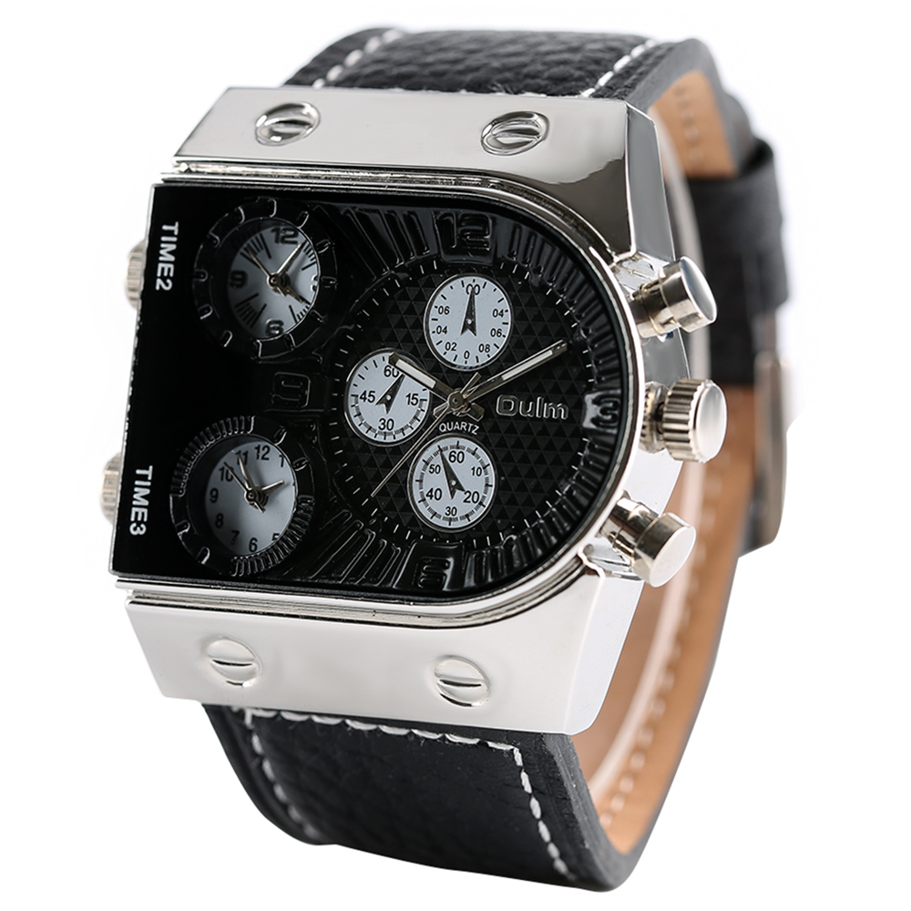 OULM 9315 Men's Watches Mens Quartz Wristwatch Sports Man Three Time Zone Army Military Male Watch Genuine Leather Strap Clock oulm mens designer watches luxury watch male quartz watch 3 small dials leather strap wristwatch relogio masculino