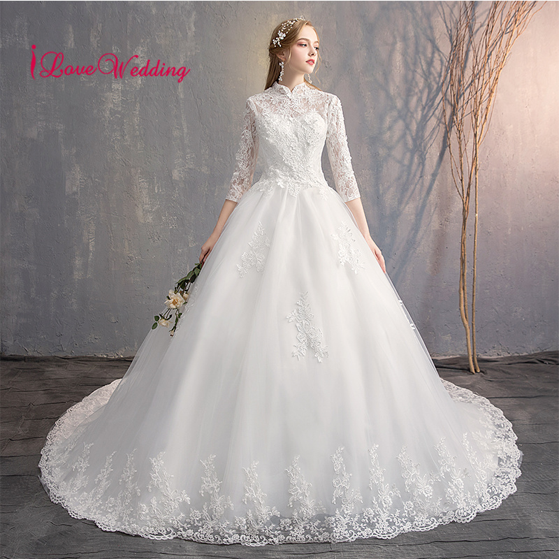 iLoveWedding 2019 High Neck 3D Lace Applique Custom made Three Quarter Long Sleeves Court Train Bridal Wedding Dresses