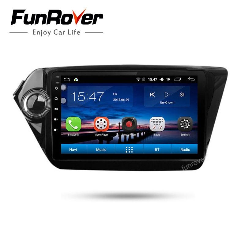 Funrover 2 din dvd плеер автомобиля для kia k2 Rio 2010 2011 2012 2013 2014 2015 2016 2017 gps навигация автомобильный радио tapte рекордер RDS