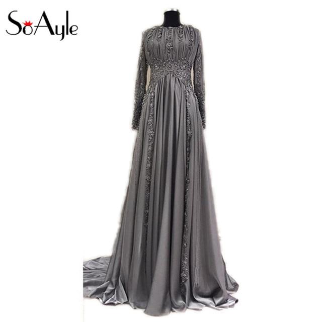 SoAyle Vestido de Madrin 2018 Mother of Bride Dresses Plus Size Chiffon Lace  Appliques Muslim Dubai Beaded Wedding Guest Dresses 534d05909a45