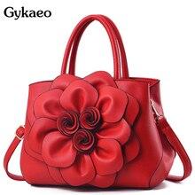 Gykaeo класса люкс Сумки Для женщин дизайнерские Сумки из искусственной кожи с цветочным принтом сумка женская Повседневное цветы сумка на плечо, сумки на плечо Bolsos Mujer