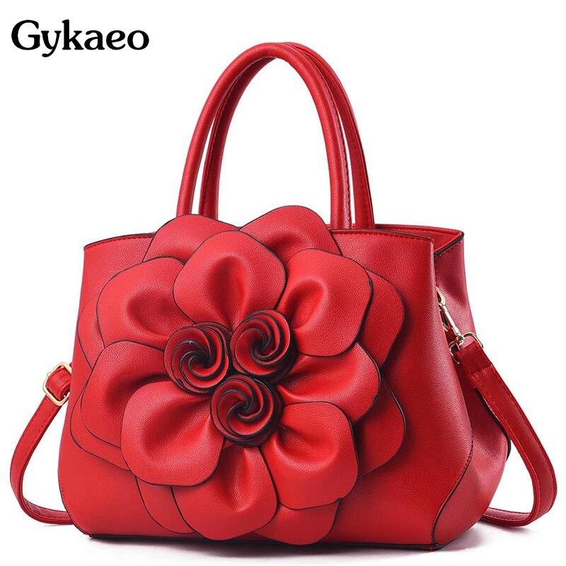 Gykaeo Luxury Handbags Women Bags Designer PU Leather Floral Tote Bag Ladies Casual Flower Messenger Shoulder Bags Bolsos Mujer