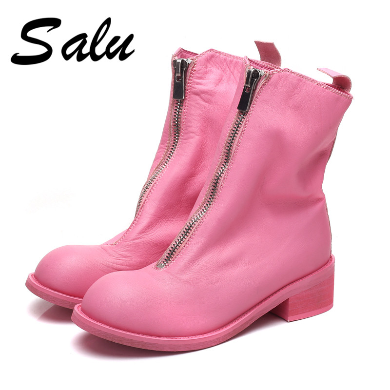 Salu 2018 new soft genuine leather women shoes round toe low square heel front zip winter plush warm mid calf boots plus size 12 vamolasc new women autumn winter leather mid calf boots warm crystal square high heel boots platform women shoes plus size 34 43