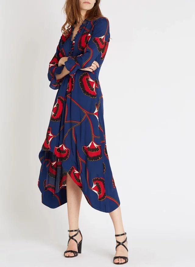 Women Dress 2019 Spring and Summer Print V neck Ruffled Long Irregular Waist Dress Polyester