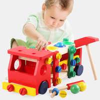 Montessori jouets éducatifs en bois pour enfants développement de l'apprentissage précoce enfants Intelligence frapper balle vis écrou camion voiture