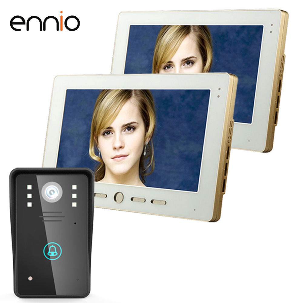 ENNIO SY1002A12 2 Monitors 10 Video Door Phone Intercom Doorbell Touch Button Remote Unlock Night Vision