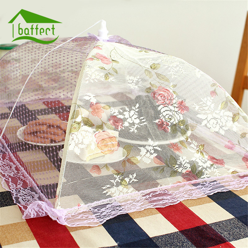kitchen picnic table candles lace gauze food cover umbrella style anti fly ...