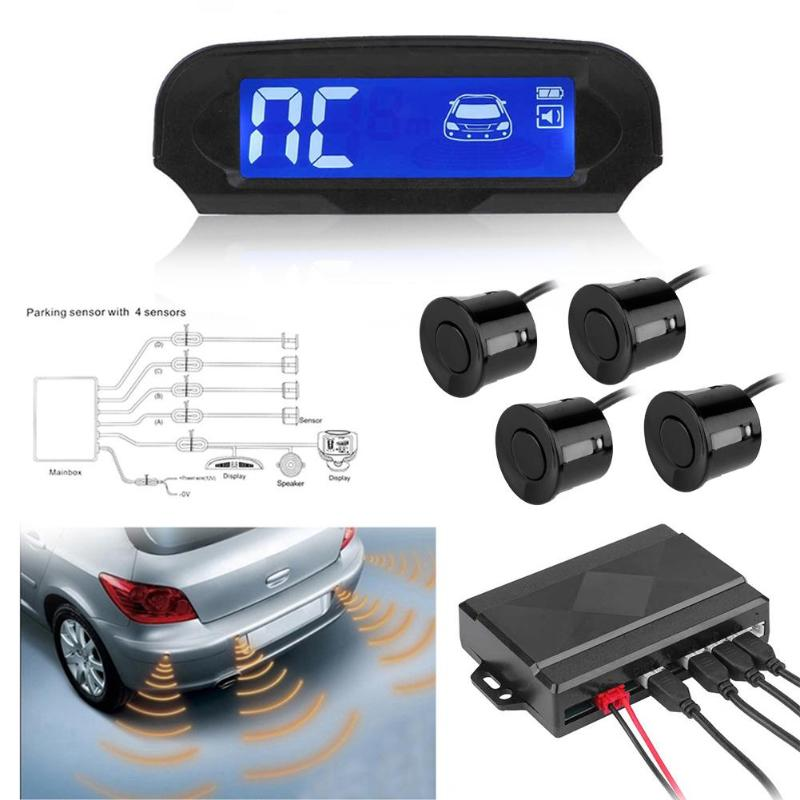 Solar Power Wireless LCD Car Parking Sensor Kit Auto Reversing Backup Radar Detector Assistance System with