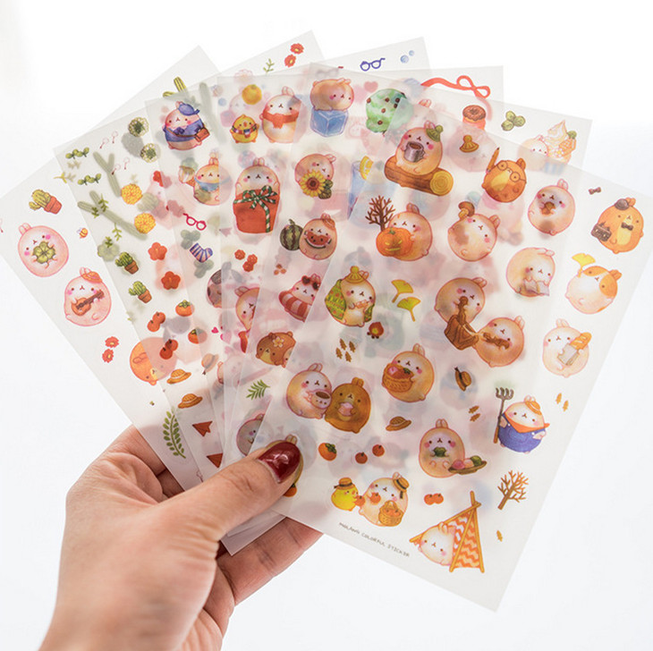 6 Sheets/lot DIY Colorful Animals Rabbits Kawaii Stickers Diary Planner Journal Note Paper Scrapbooking Albums Photo Decoration