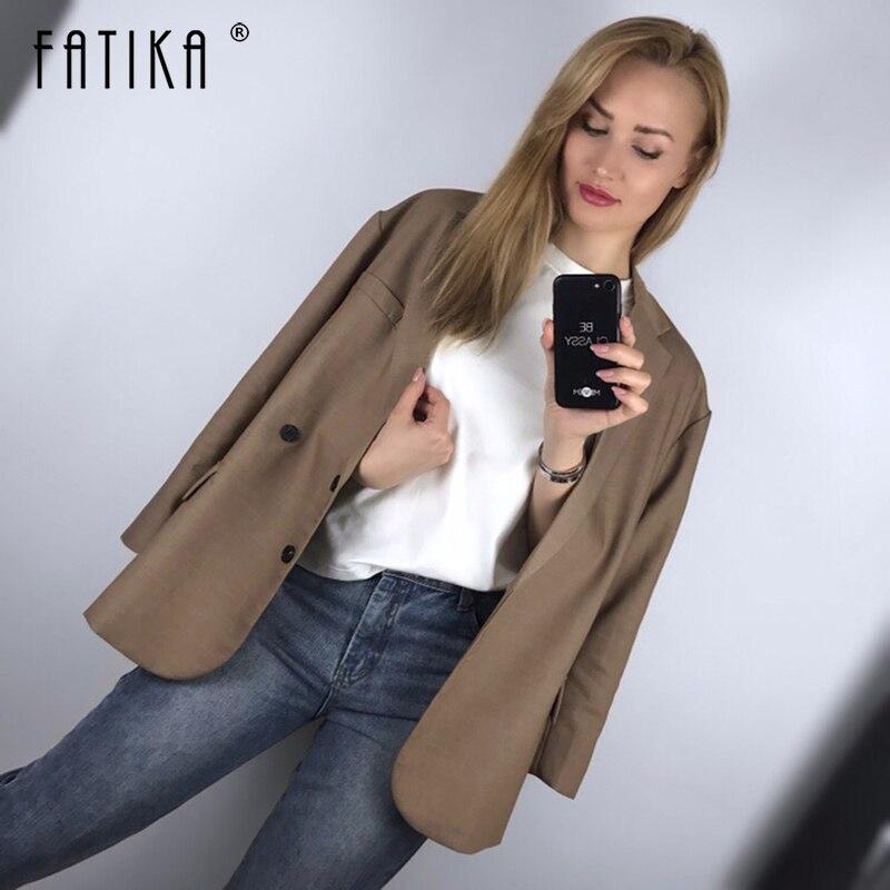 Fatika 2019 printemps automne surdimensionné élégant solide Blazer de base à manches longues poches décontracté Streetwear Lady Blazers femmes vêtements