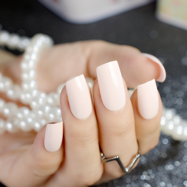 Nude Pink Square False Nails Light Orange Pink Natural Fake Nail ...