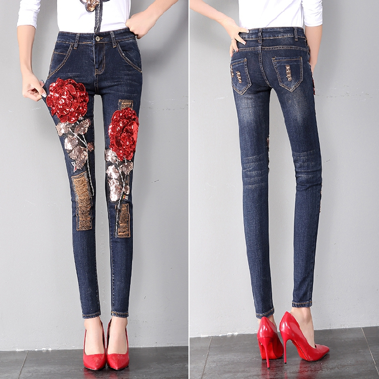 Pantalones Con Lápiz Diseñador Moda Mezclilla Elástica Vaqueros Otoño Mujer De Flor Skinny Verano Lentejuelas Bordado Primavera A6qxzIw