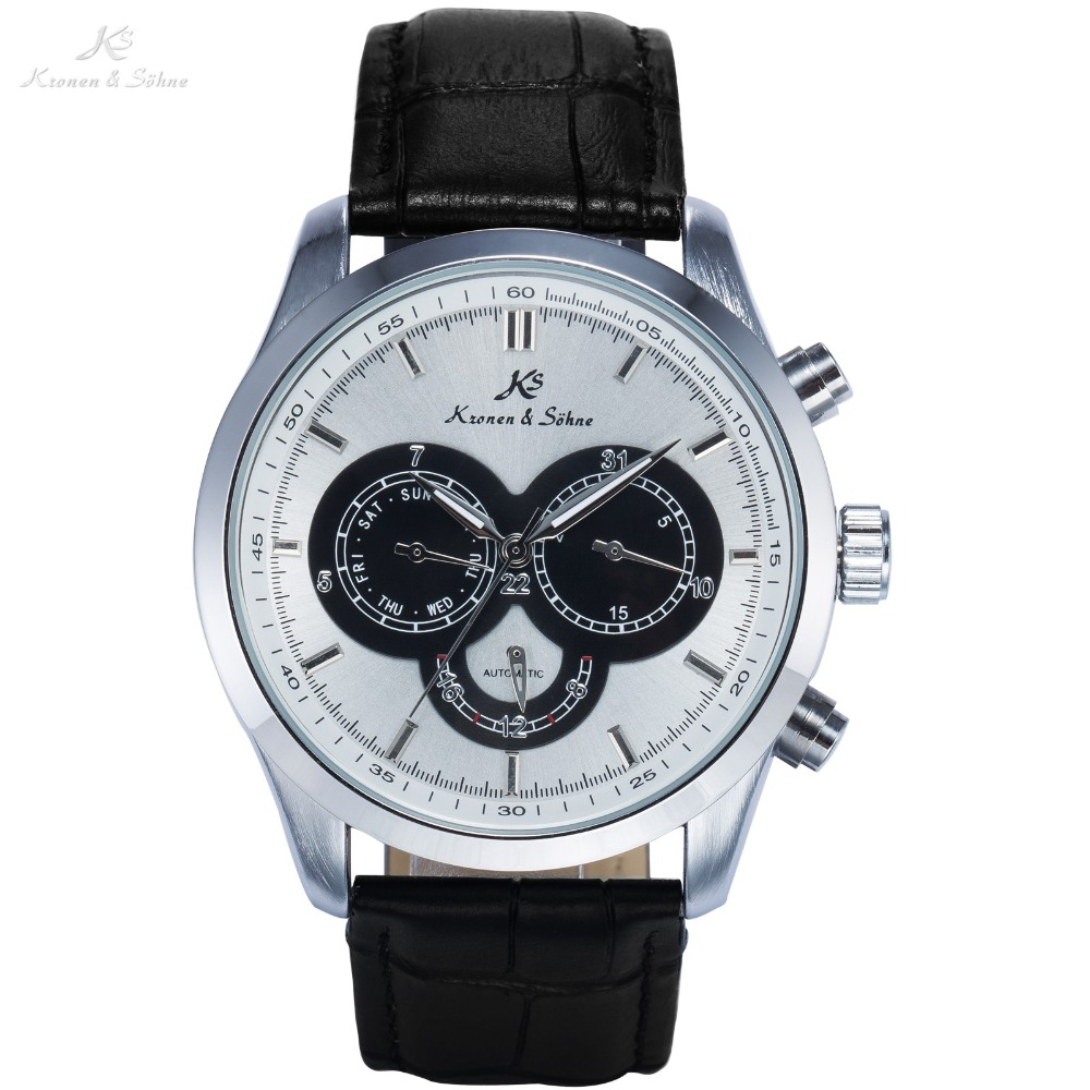 KS Luxury Brand White Dial Auto Date Day Display Black Leather Band Clock Casual Wristwatch Men Business Automatic Watch / KS267 цены