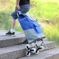 Six wheeled climbing cart Folding portable shopping cart Pull rod Driver Trolley Luggage trailer rack