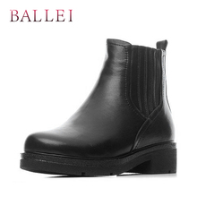 BALLEI Classic Woman Winter Ankle Boots Handmade Quality Genuine Leather Solid Square Heel Shoes Retro Round Toe Casual B7